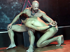 Youthful manacled marionette rails a jizz-shotgun for a facial cum-shot