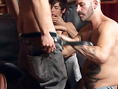 Studs and dads gargle meat pipes at a gang hook-up soiree